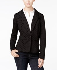 Kensie Long Sleeve Polka Dot Blazer Black