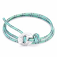 Anchor And Crew Green Dash Lerwick Silver Rope Bracelet