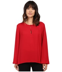 Ellen Tracy Bishop Sleeve Blouse Rouge Women's Blouse Red