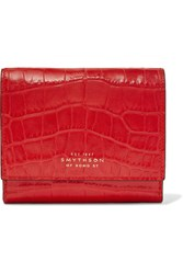 Smythson Mara Croc Effect Leather Wallet Red