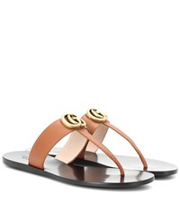 Gucci Leather Sandals Brown