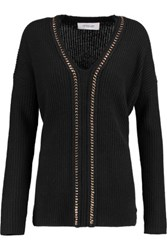 Derek Lam 10 Crosby By Chain Embellished Ribbed Wool And Cashmere Blend Sweater Black
