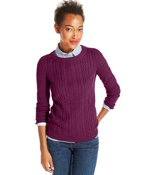 Tommy Hilfiger Cable Knit Crew Neck Sweater Beetroot