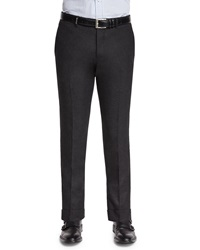 Kiton Flannel Flat Front Pants Charcoal Grey