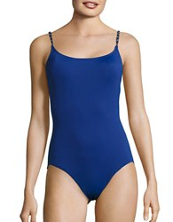 Michael Kors Chain Link One Piece Swimsuit Azurite