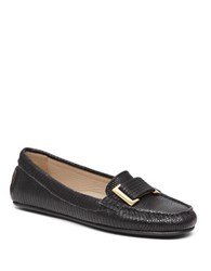 Delman Renna Leather Moccasin Loafers Black