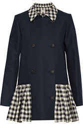 Suno Checker Trimmed Double Breasted Cotton Poplin Coat Blue
