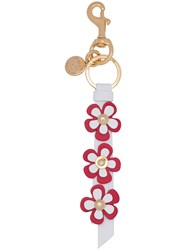 Moschino Flower Strip Key Ring Women Leather One Size Red