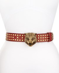Gucci Studded Leather Tiger Buckle Belt Size 30In 75Cm Red