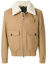 Ami Alexandre Mattiussi Shearling Collar Zipped Jacket Nude And Neutrals
