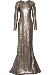 Kaufman Franco Kaufmanfranco Sequined Silk Satin Gown Platinum