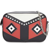 Les Petits Joueurs Roy Mask Leather Handbag Black Red White