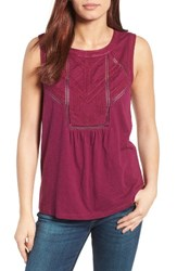 Caslonr Petite Women's Caslon Embroidered Lace Detail Cotton And Modal Tank Purple Magenta