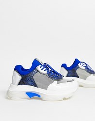 Bronx Leather Chunky Trainer In Blue And Snake Multi
