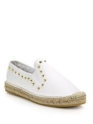 Ash Zest Studded Leather Espadrille Flats White