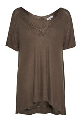 Great Plains Phoebe Knit Twisted Detail Top Khaki