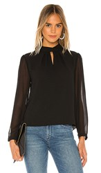 1.State 1. State Sheer Sleeve Keyhole Blouse In Black. Rich Black