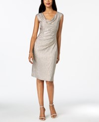 Connected Metallic Draped Sheath Dress Stone