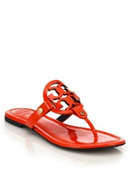 Tory Burch Miller Patent Leather Logo Thong Sandals Orange