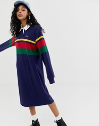 Stussy Rugby Dress With Colour Block Stripes And Chest Logo Navy Stripe