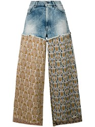 Circus Hotel Lurex And Denim Trousers Women Cotton Polyester Viscose 27 Blue