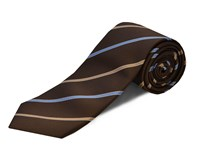 Double Two Polyester Stripe Tie Brown