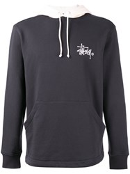 Stussy Logo Print Hoodie Men Cotton Xl Black
