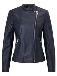 Jigsaw Nappa Leather Biker Jacket Ink