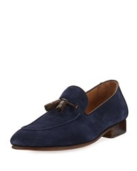 Donald J Pliner Men's Suede Leather Tassel Slip On Navy