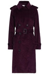 Rebecca Minkoff Ferry Double Breasted Cotton Corduroy Trench Coat Merlot