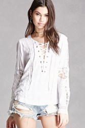 Forever 21 Lace Up Crochet Blouse White