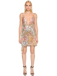 Amen Sequined Tulle Dress With Printed Slip