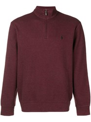 Ralph Lauren Quarter Zip Sweater Red