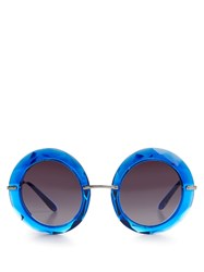 Dolce And Gabbana Round Frame Acetate Sunglasses Blue
