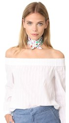 Kate Spade New York Greenhouse Silk Skinny Scarf Fresh White