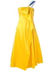 Peter Pilotto Taffeta Corset Dress Yellow Orange