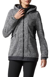 Adidas Women's Nuvic Hybrid 2 Fleece Puffer Jacket Solid Grey Black Black