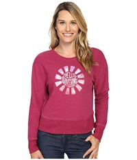 Life Is Good Hello Sunshine Go To Crew Wild Plum Women's Long Sleeve Pullover Burgundy