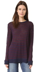 Alexander Wang Stripe Rayon Linen Tee Aubergine And Navy