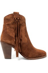 Ash Isha Fringed Suede Ankle Boots Chocolate