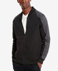 Kenneth Cole Reaction Men's Perforated Colorblocked Bomber Jacket Black