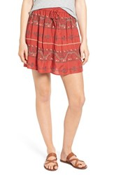 Hinge Women's Embroidered Miniskirt Red Ochre Embroidered Combo