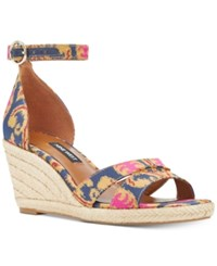 Nine West Jeranna Wedge Sandals Women's Shoes Navy Multi