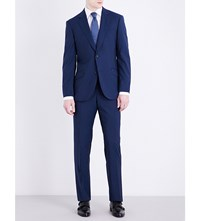 Richard James Striped Slim Fit Stretch Wool Suit Blue