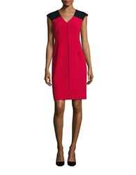 Ellen Tracy Piped And Colorblocked Sheath Dress Red
