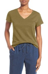 Eileen Fisher Women's Organic Cotton V Neck Tee Olive