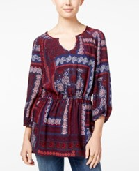 Tommy Hilfiger Printed Split Neck Tunic Peacoat Print Multi