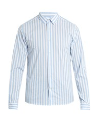Ami Alexandre Mattiussi Striped Cotton Shirt Light Blue