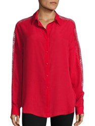 The Kooples Lace Trim Blouse Red White