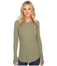 Converse Thermal Thumbhole Long Sleeve Tee Fatigue Green Women's T Shirt